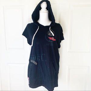 Knickerbocker Black Short Sleeved Hoodie Shirt